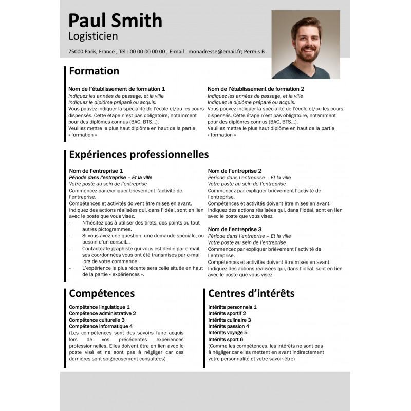 Modèle CV gratuit gris et noir à télécharger et à personnaliser facilement
