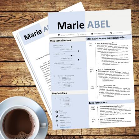 Modèle CV bleu pastel à télécharger et à modifier avec Powerpoint
