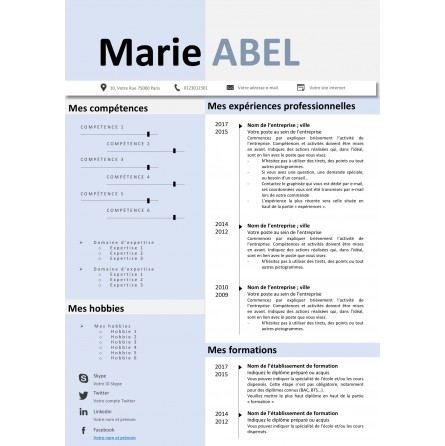 template CV bleu pastel à modifier avec powerpoint