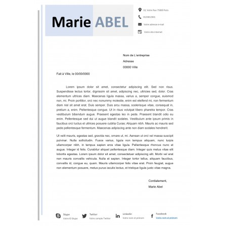 modèle lettre de motivation bleu pastel à télécharger