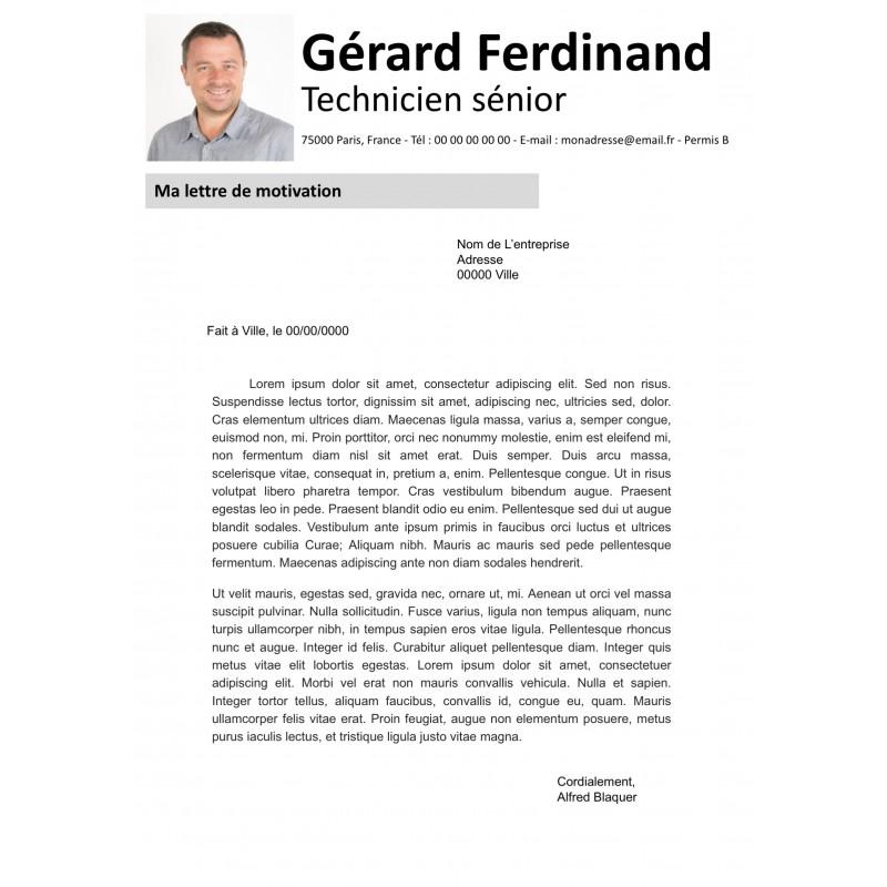 modèle à télécharger de lettre de motivation grise épuré et à modifier