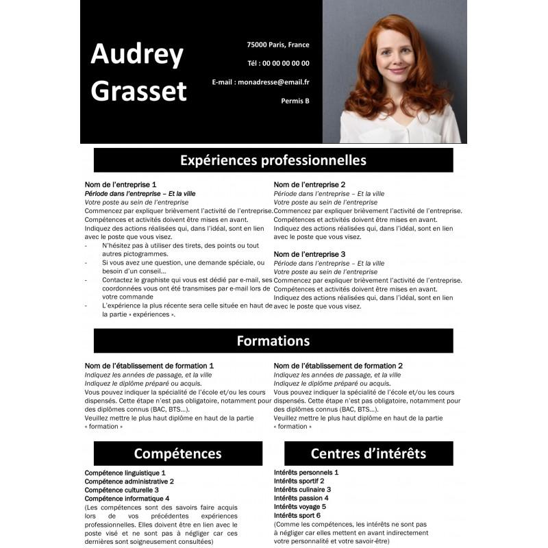 modèle de CV totalement gratuit couleur noir à télécharger au format powerpoint