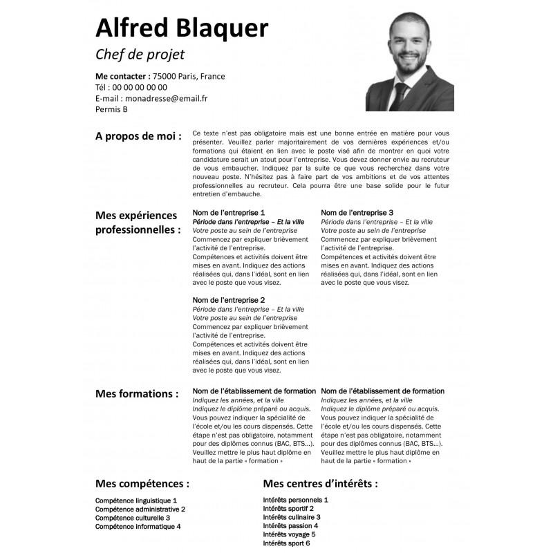 Modèle CV gratuit noir et blanc avec photo à télécharger et à personnaliser