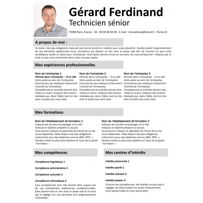 Modèle de CV gris à télécharger gratuitement sur Mon CV de Graphiste