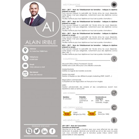 template cv 2 pages gris à télécharger