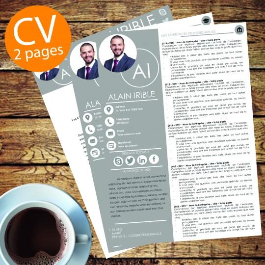 modèle cv 2 pages gris à télécharger